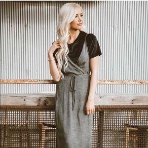 SLATE * Flattering charcoal gray maxi wrap dress